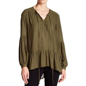 Ro & De Split Neck Gathered Blouse Ruffle Hem